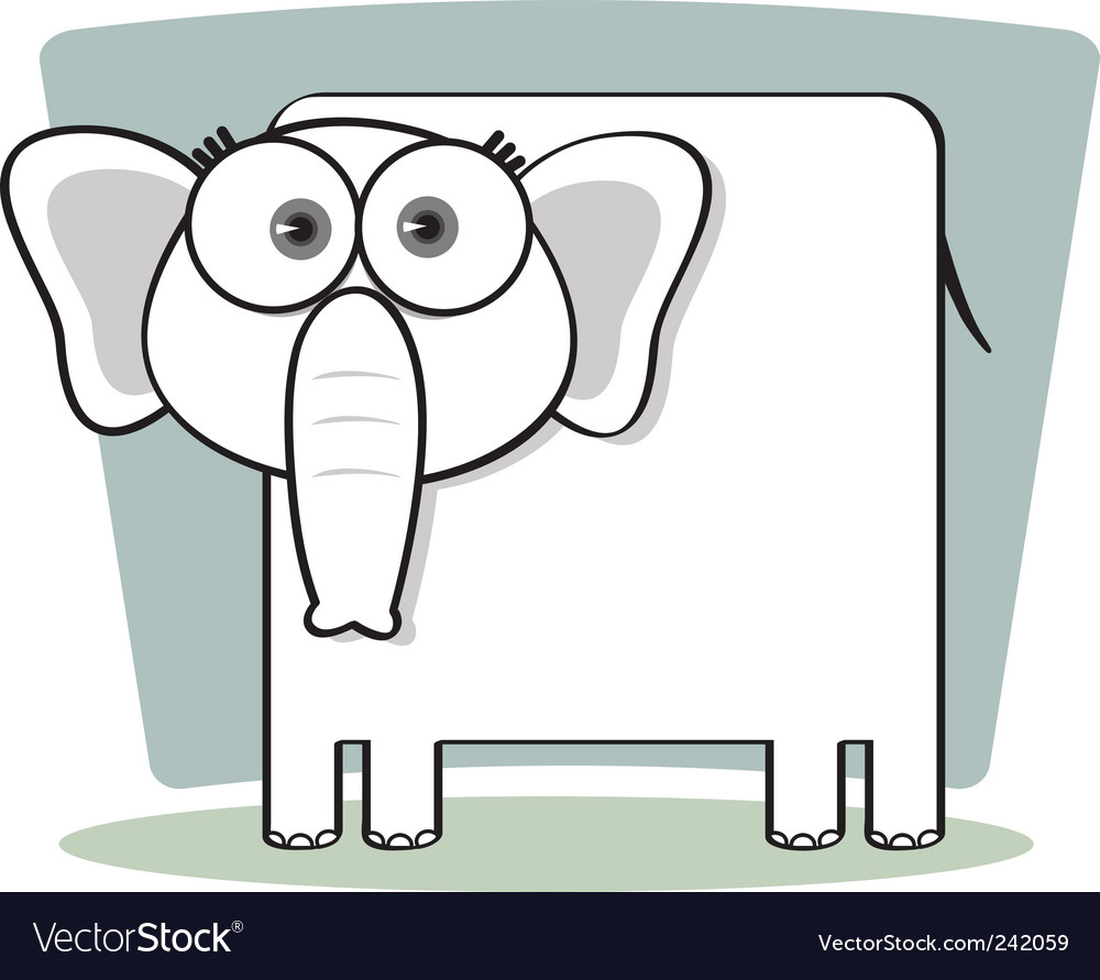 Square animal  elephant vector | Price: 1 Credit (USD $1)