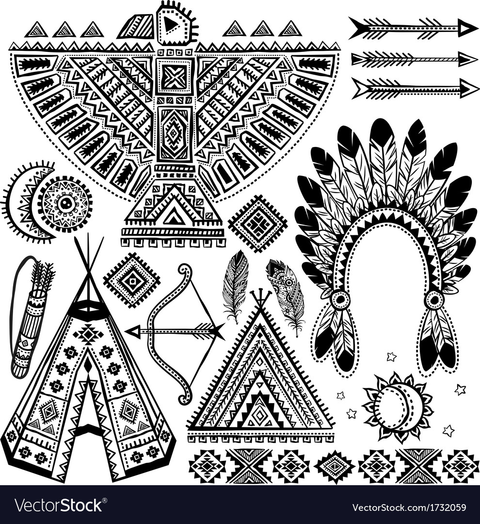 Tribal native american set of symbols vector | Price: 1 Credit (USD $1)