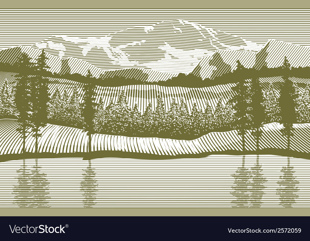 Woodcut wilderness vector | Price: 1 Credit (USD $1)