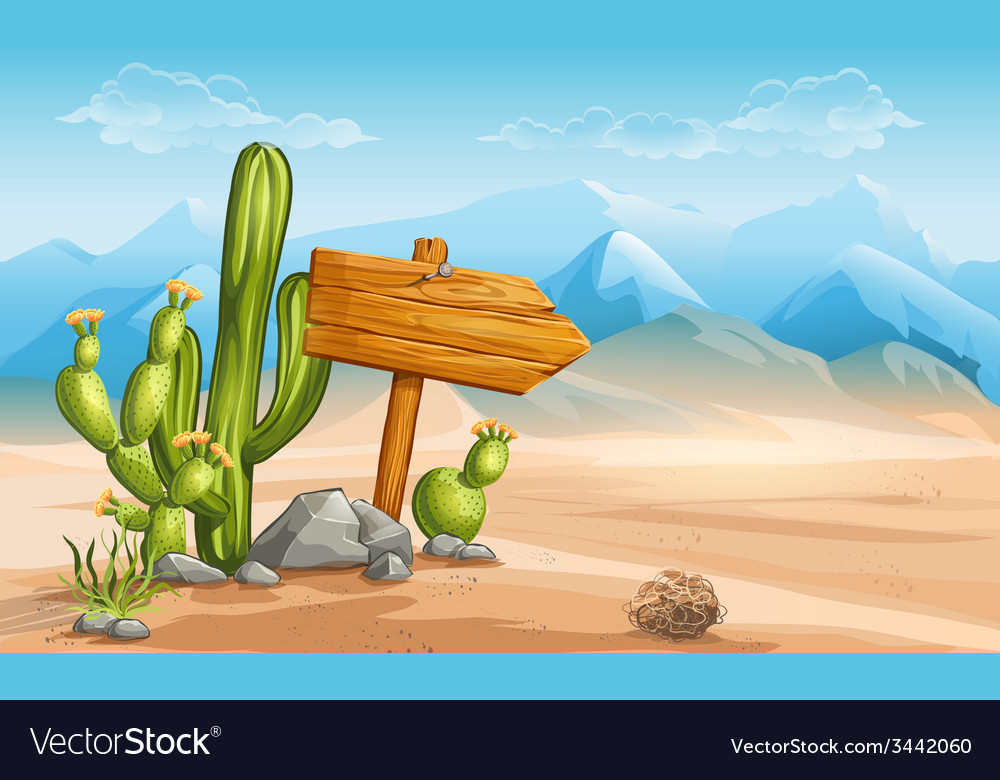 A wooden sign in the desert mountains in the vector | Price: 5 Credit (USD $5)