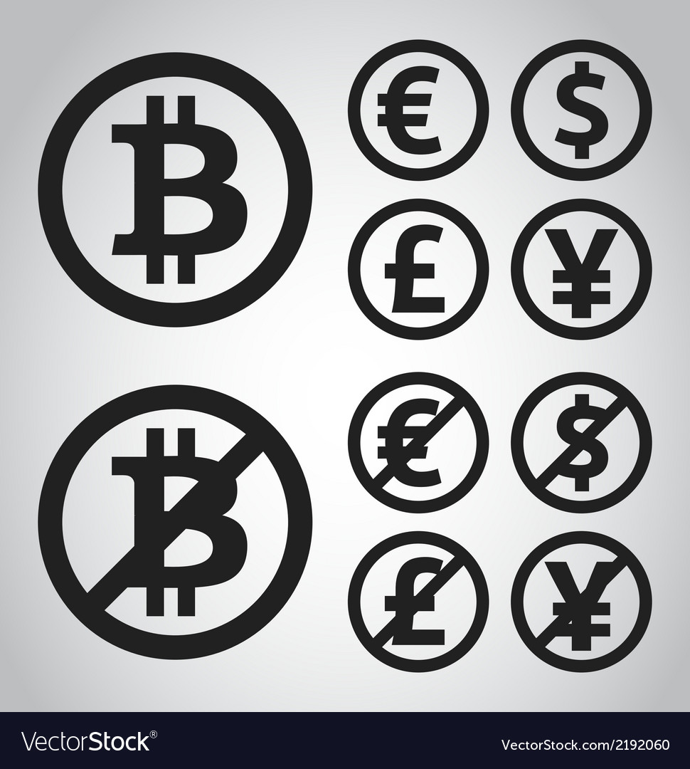 Bitcoin euro dollar font and yen money icons vector | Price: 1 Credit (USD $1)