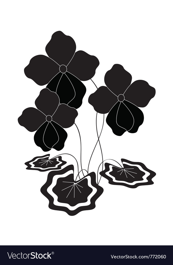 Bush silhouette of violets vector | Price: 1 Credit (USD $1)
