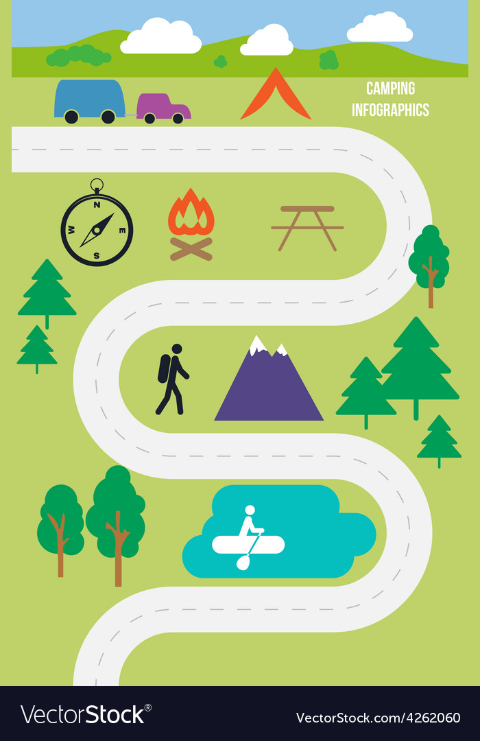 Camping outdoor infographics vector | Price: 1 Credit (USD $1)
