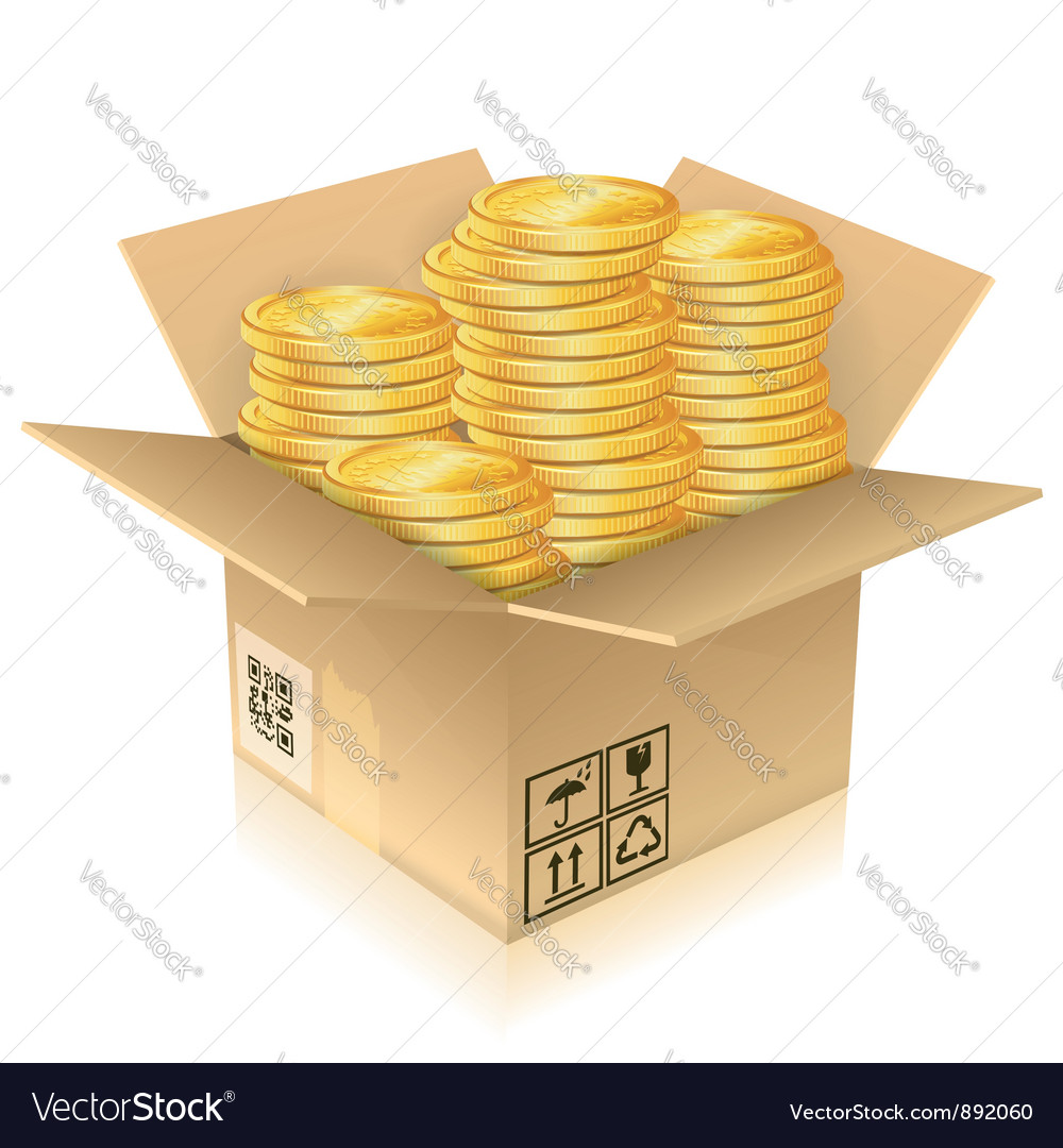 Cardboard box with gold coins vector | Price: 3 Credit (USD $3)