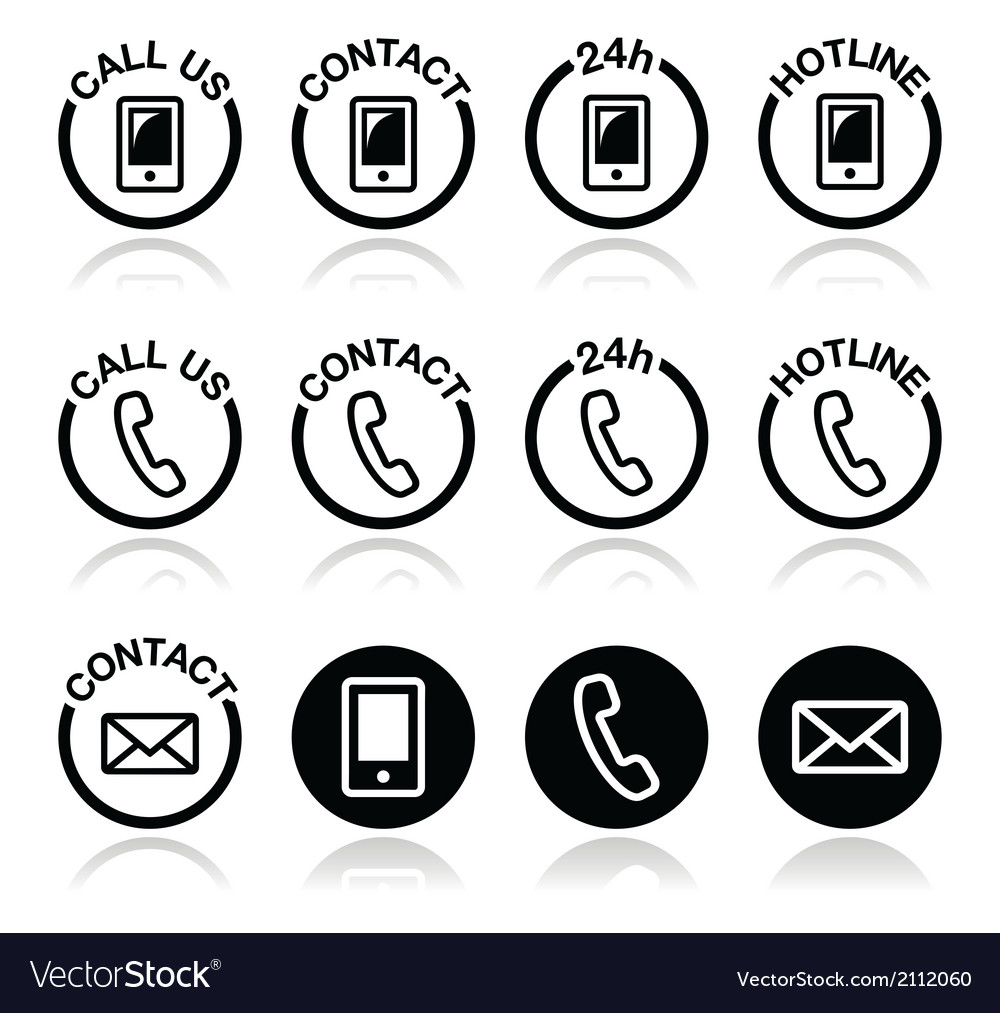Contact hotline 24h help icons set vector | Price: 1 Credit (USD $1)