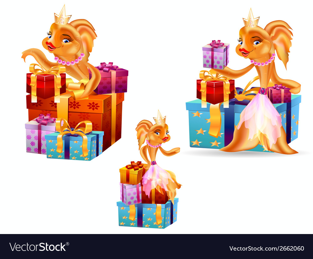 Gold fish gifts vector | Price: 1 Credit (USD $1)