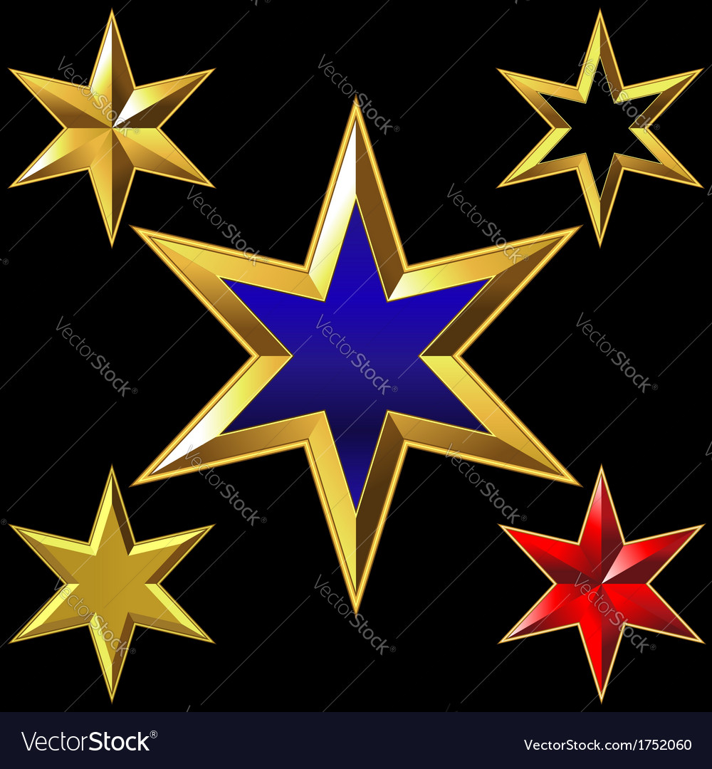 Gold six-pointed stars vector | Price: 1 Credit (USD $1)