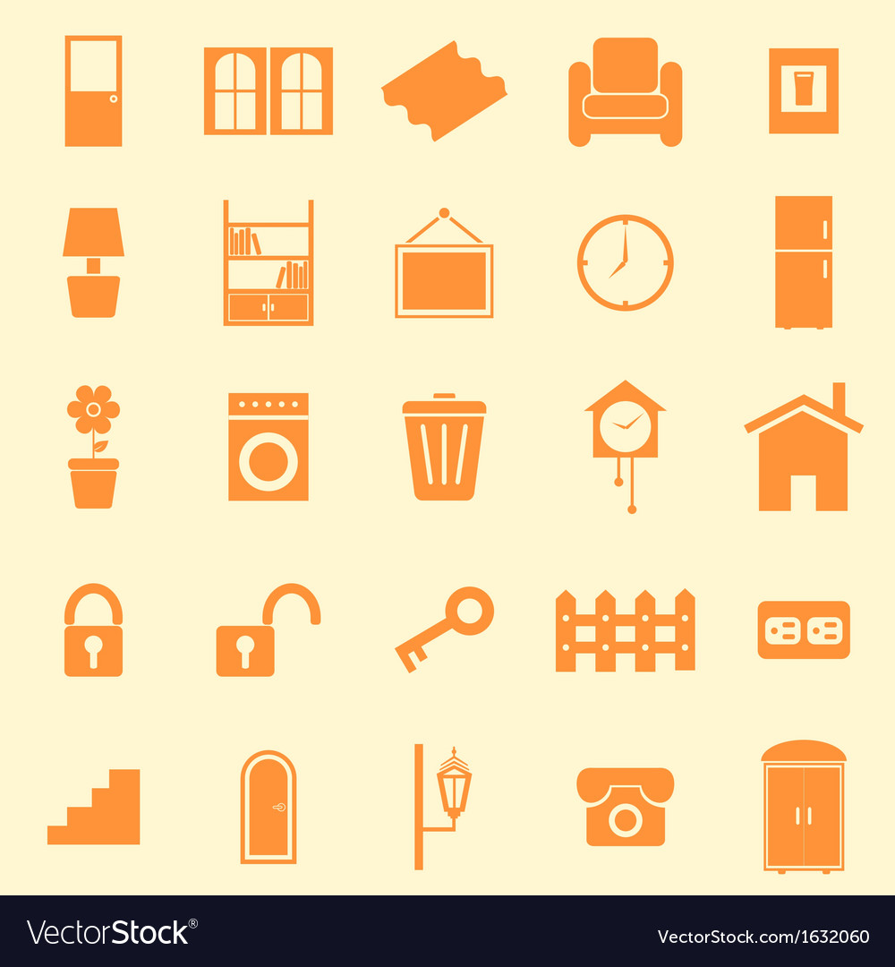 House related color icons on orange background vector | Price: 1 Credit (USD $1)