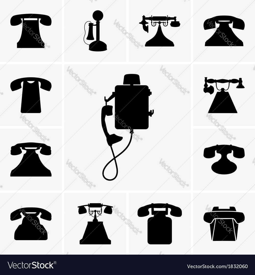 Old telephones vector | Price: 1 Credit (USD $1)