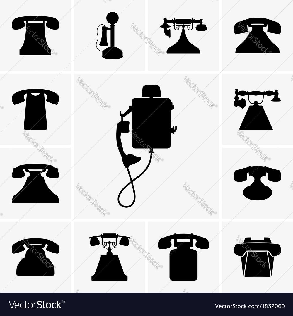 Old telephones vector | Price: 1 Credit (USD $1)