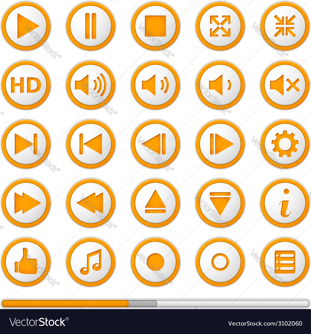 Orange media player buttons vector | Price: 1 Credit (USD $1)