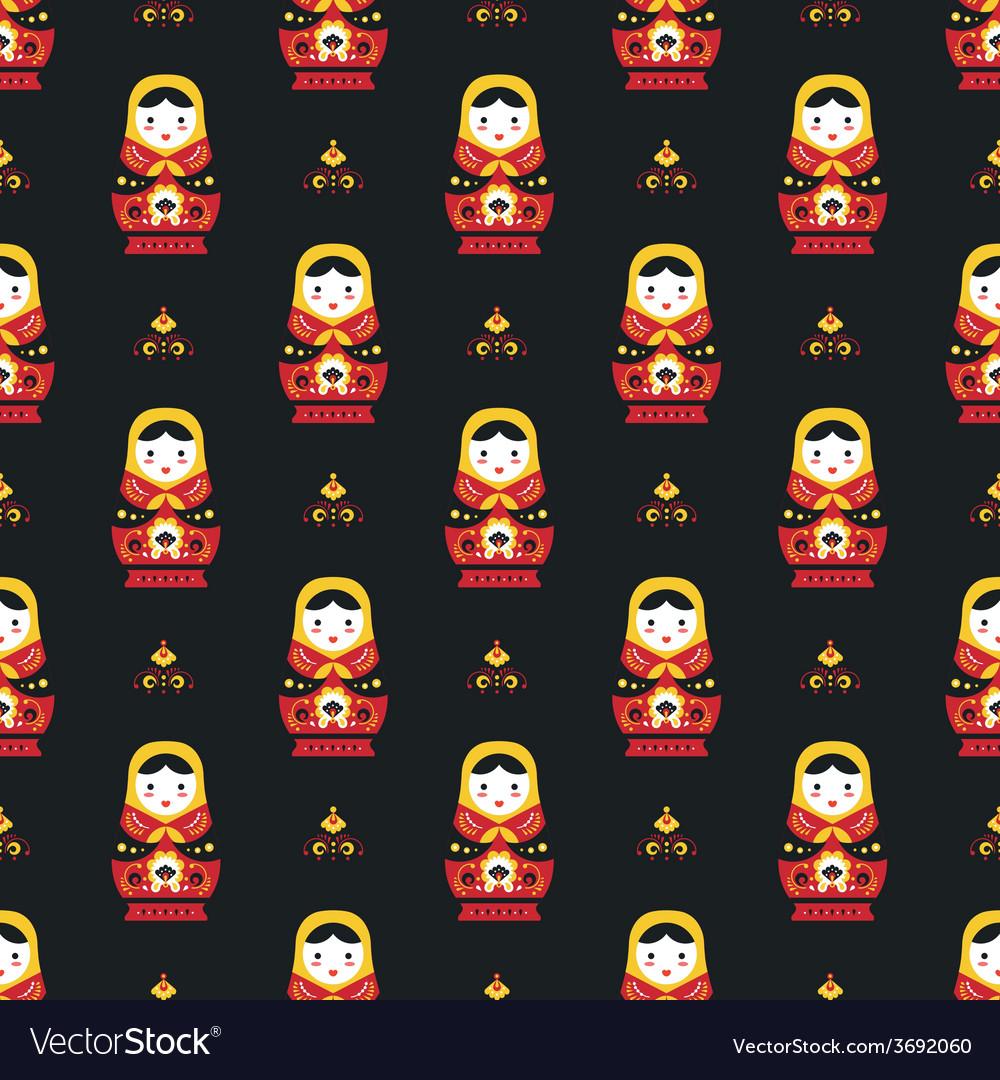 Russian doll matreoshka seamless pattern vector