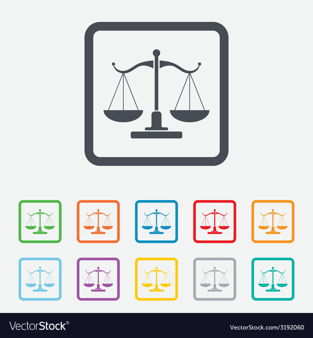 Scales of justice sign icon court of law symbol vector | Price: 1 Credit (USD $1)