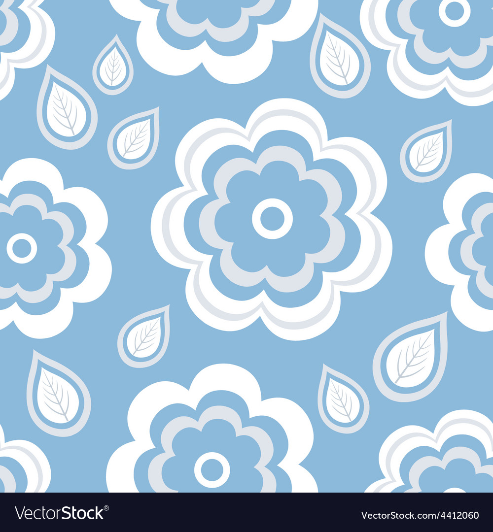 Seamless pattern blue with flowers and leaf vector | Price: 1 Credit (USD $1)