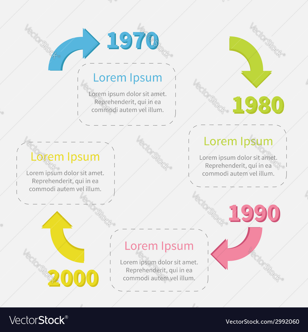 Timeline infographic circle with colored arrows vector | Price: 1 Credit (USD $1)