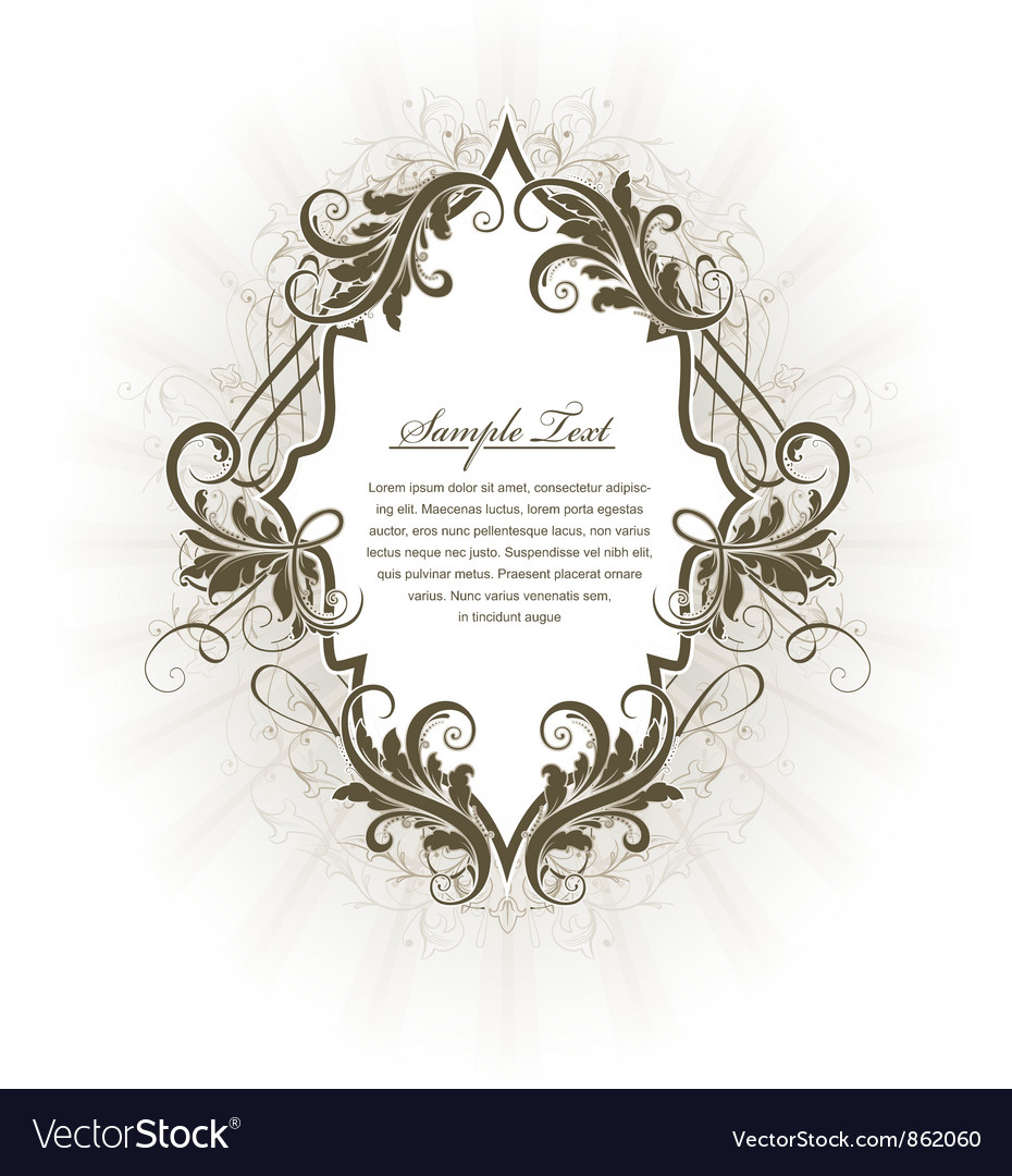 Vintage label with floral vector | Price: 1 Credit (USD $1)