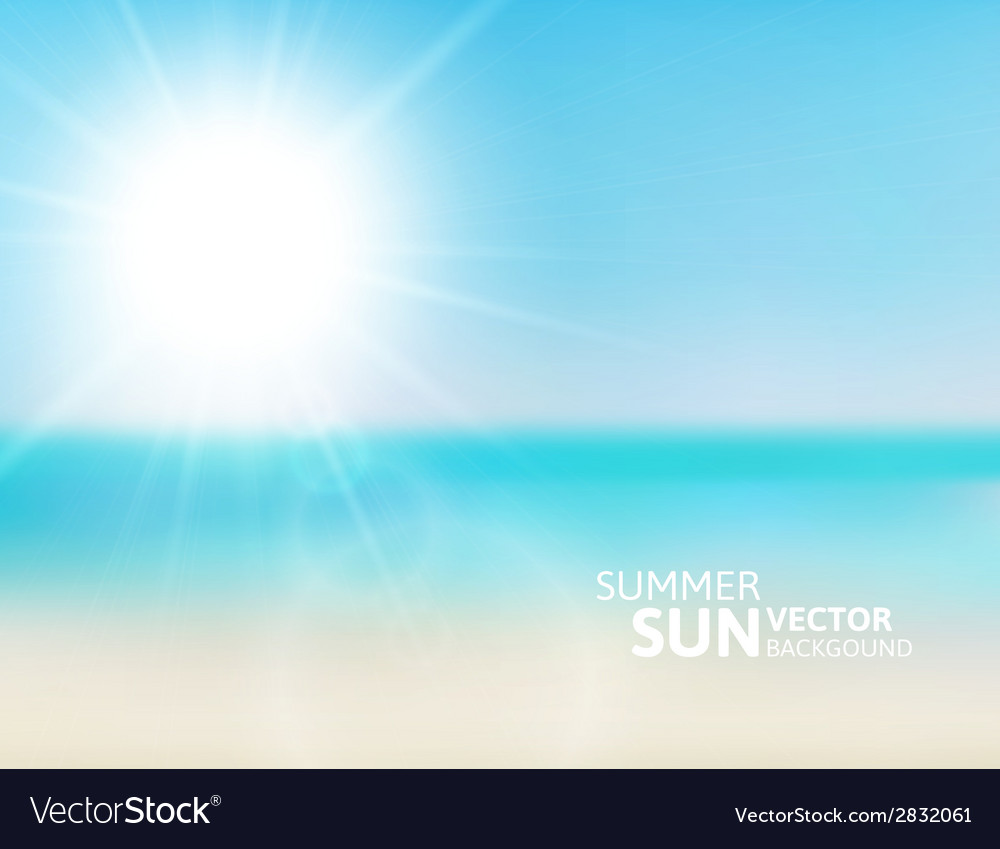 Blurry beach and blue sky with summer sun vector | Price: 1 Credit (USD $1)