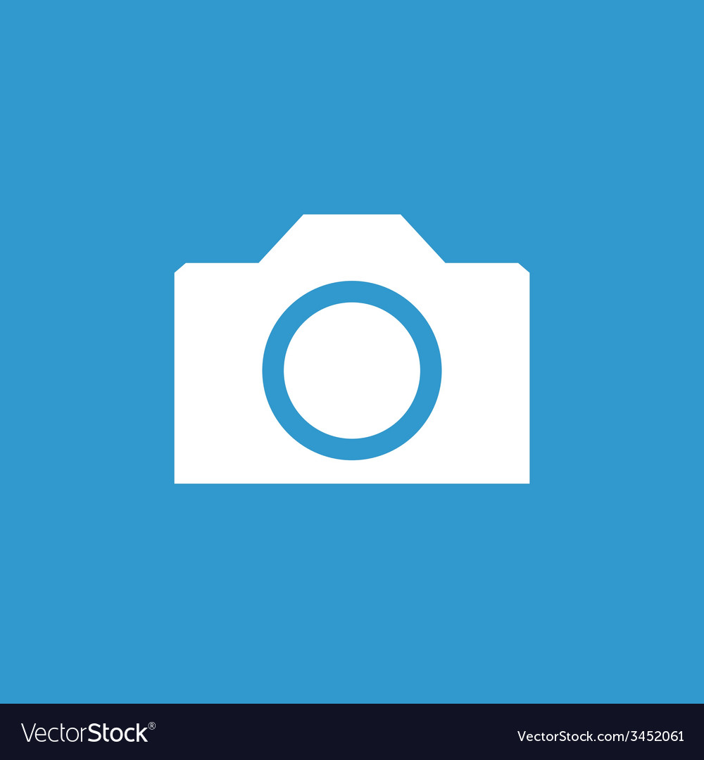 Camera icon white on the blue background vector | Price: 1 Credit (USD $1)