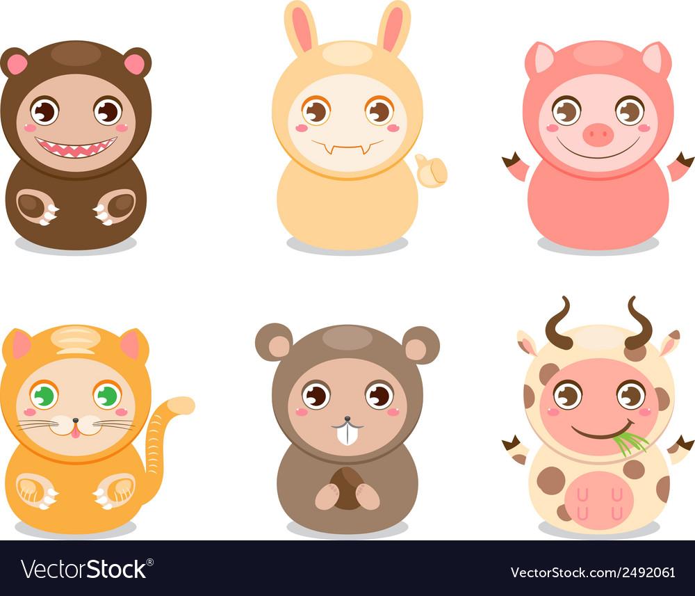 Cute cartoon animals vector | Price: 1 Credit (USD $1)
