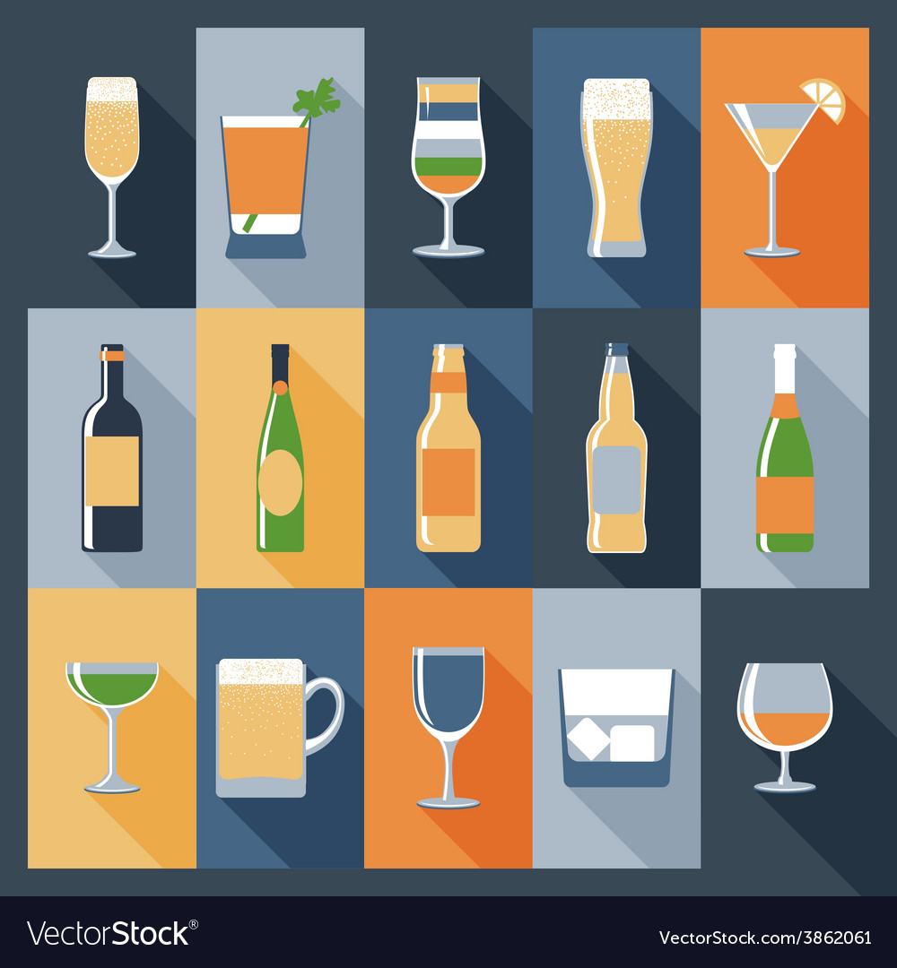 Drink icons flat vector | Price: 1 Credit (USD $1)
