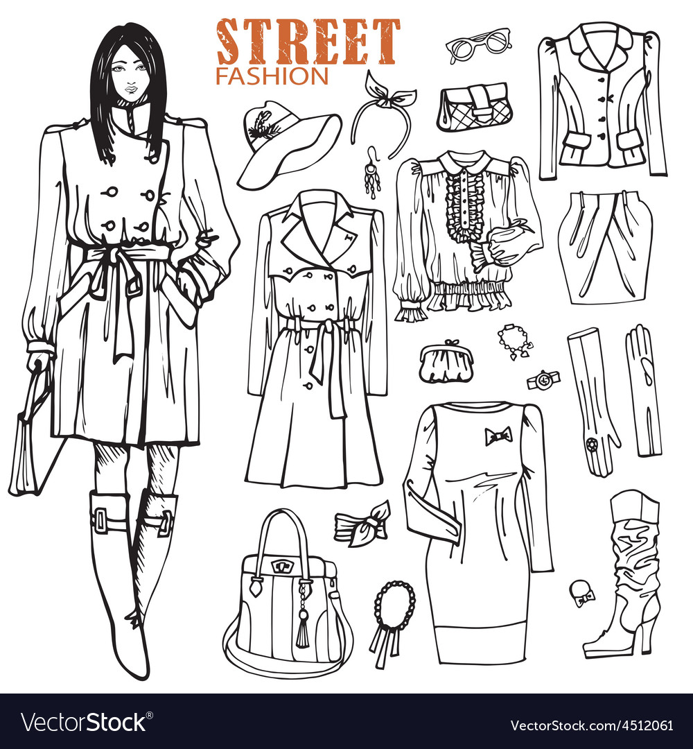 Fashion girl and street clothing setoutline vector | Price: 1 Credit (USD $1)