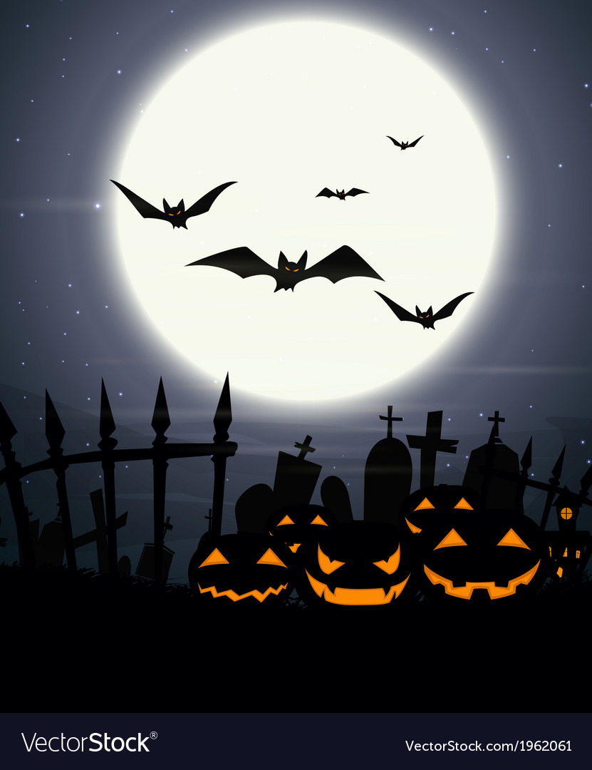 Halloween background with full moon vector | Price: 1 Credit (USD $1)