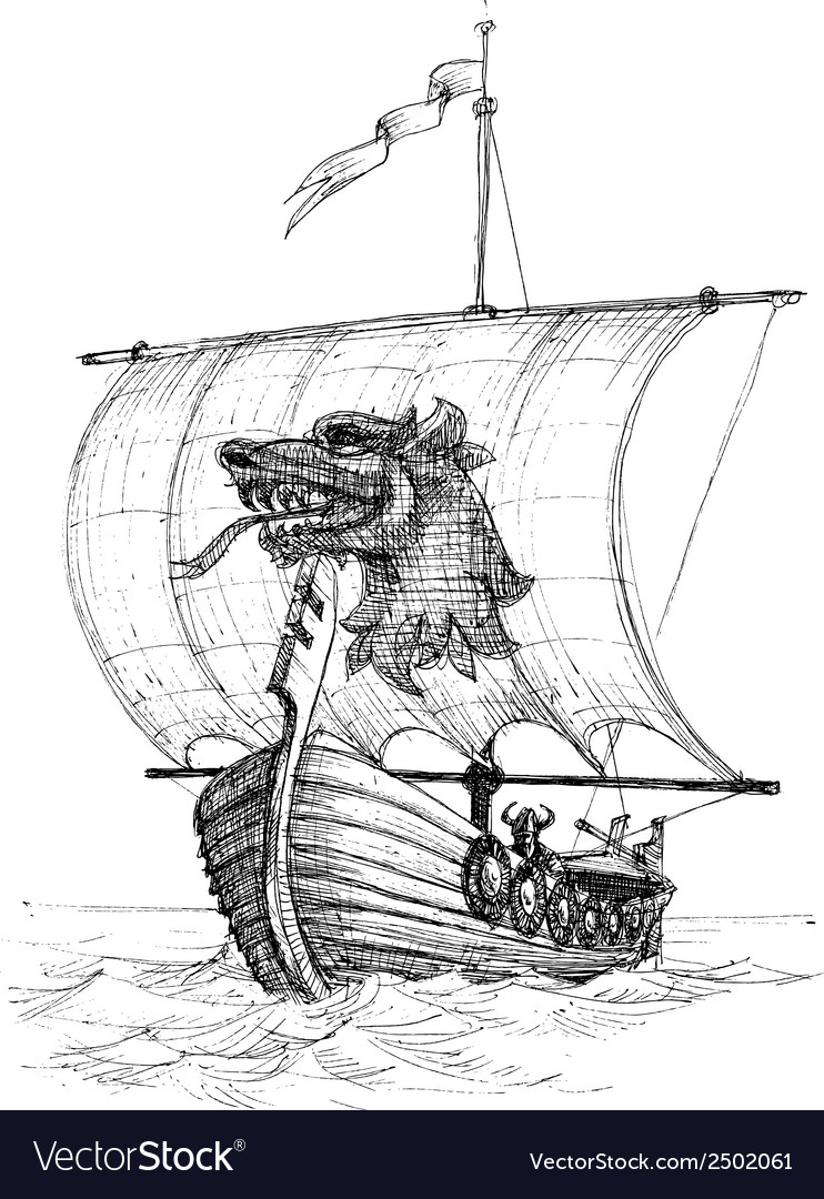 Long boat drakkar sketch vector | Price: 1 Credit (USD $1)