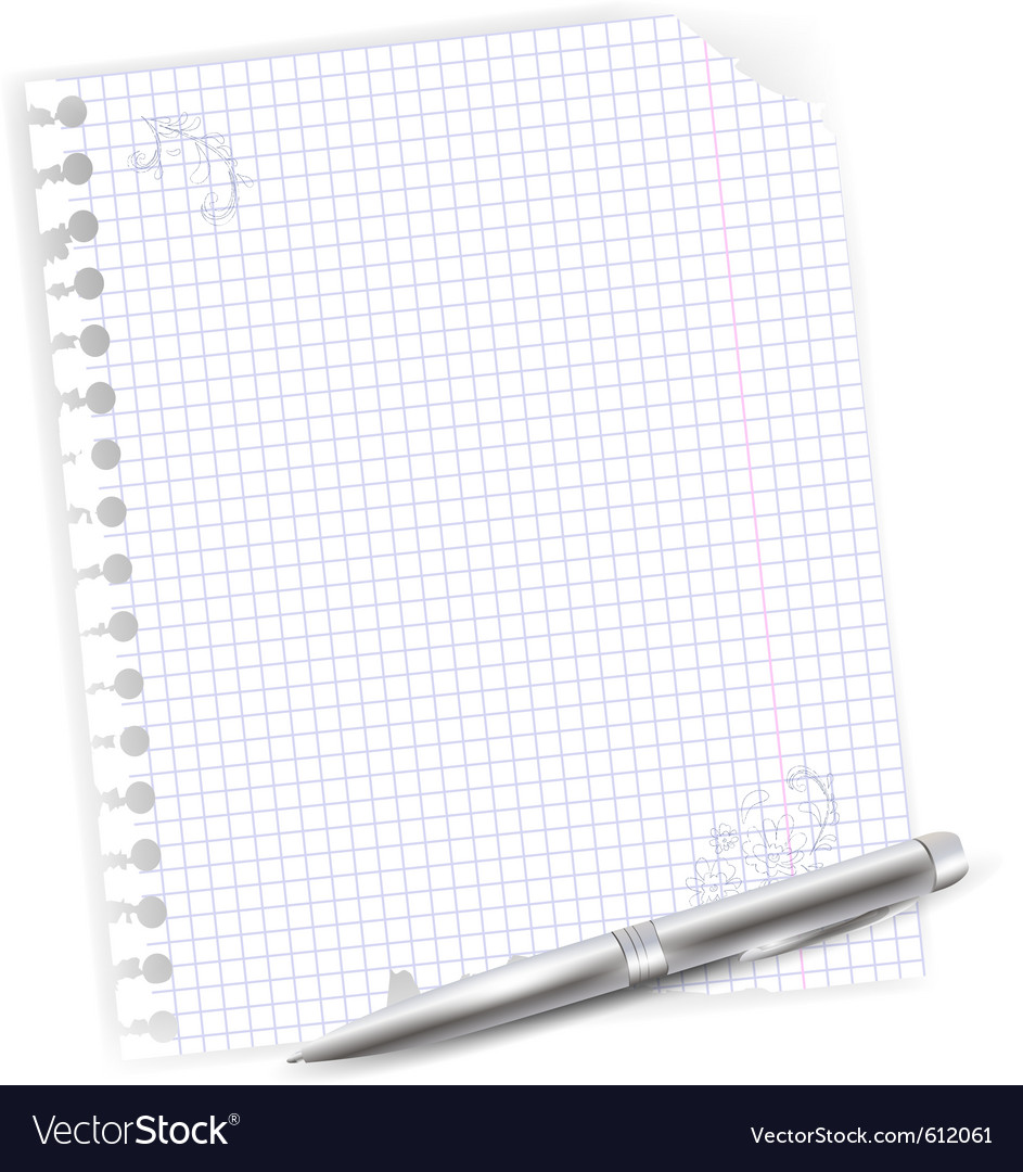 Notebook sheet with metal ballpoint vector | Price: 1 Credit (USD $1)