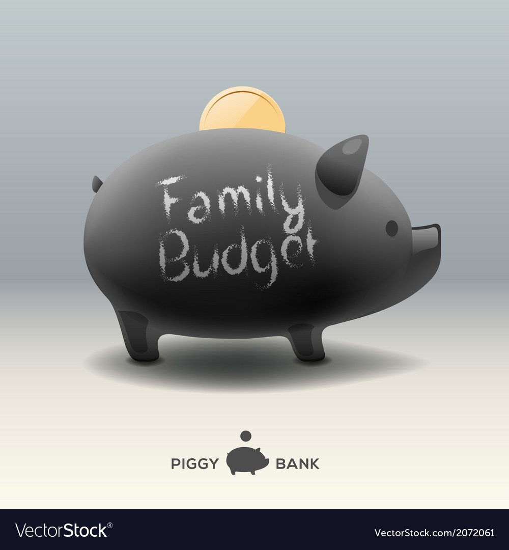 Piggy moneybox with coin - for family budget vector | Price: 1 Credit (USD $1)