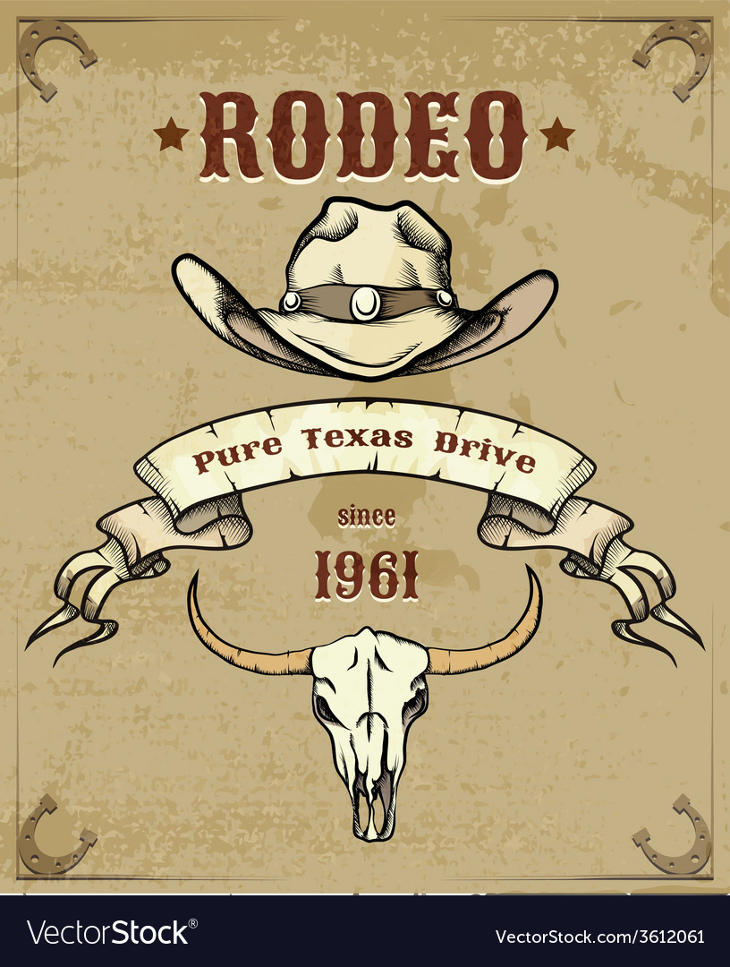 Rodeo themed graphic with cowboy hat and skull vector | Price: 1 Credit (USD $1)