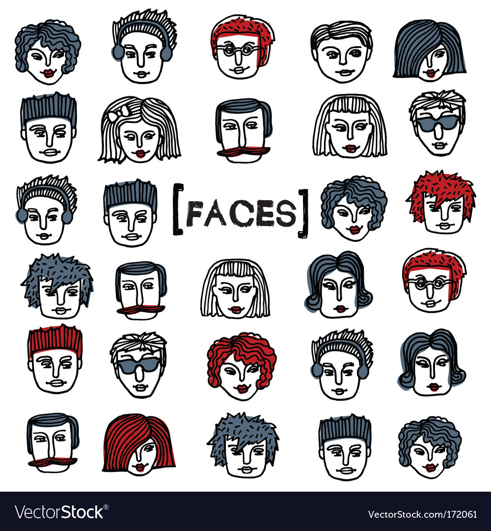 Set of cartoon faces vector | Price: 1 Credit (USD $1)