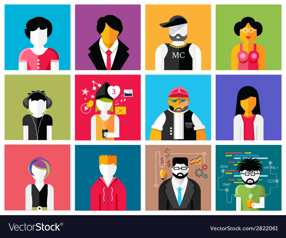 Set of stylish avatars of man and woman icons vector | Price: 1 Credit (USD $1)