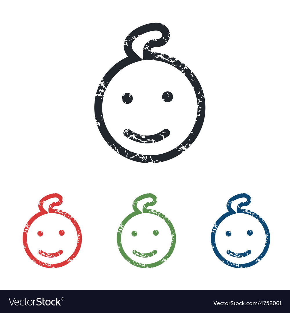 Smiling child grunge icon set vector | Price: 1 Credit (USD $1)