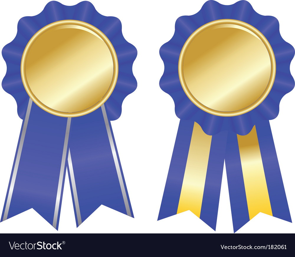 Two blue award ribbons vector | Price: 1 Credit (USD $1)