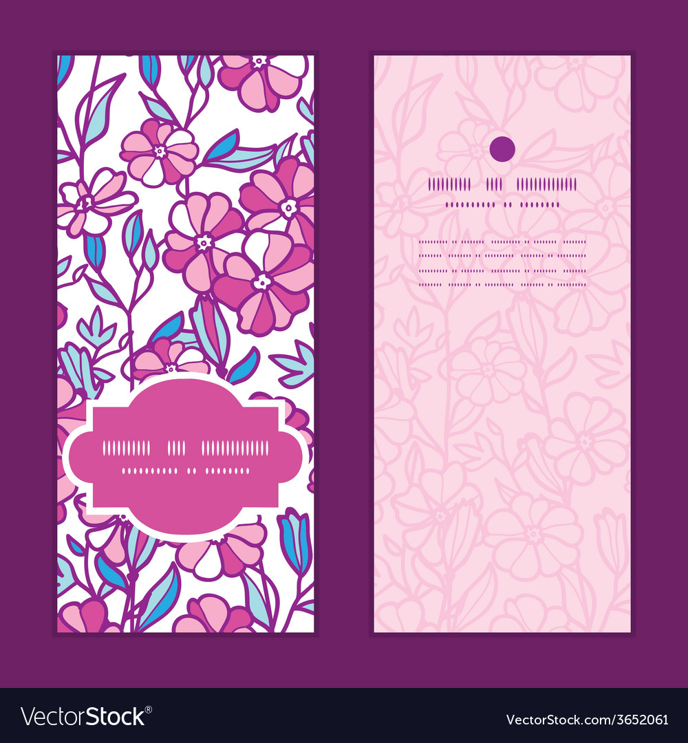 Vibrant field flowers vertical frame pattern vector | Price: 1 Credit (USD $1)