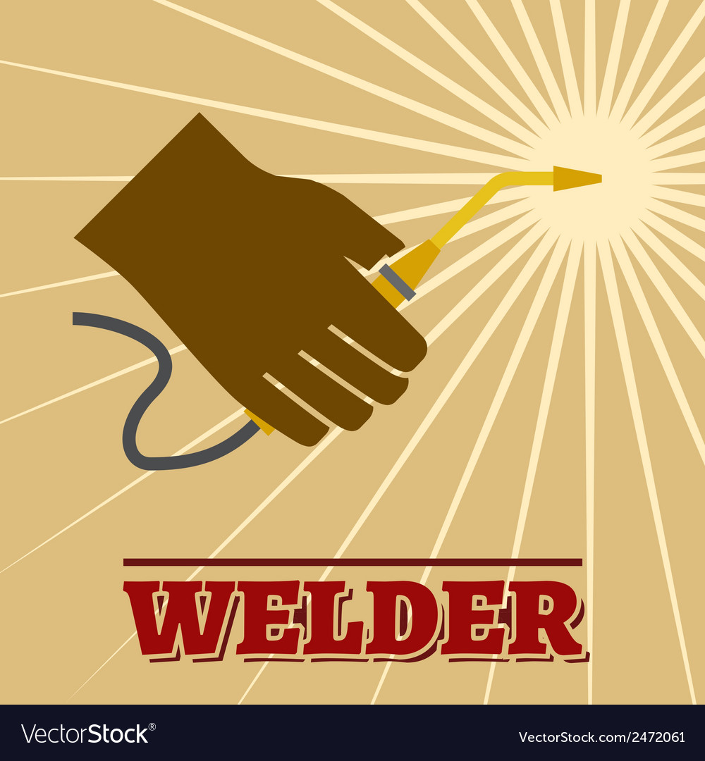 Welder retro poster vector | Price: 1 Credit (USD $1)