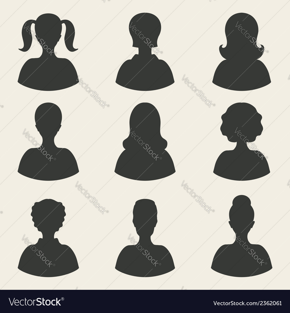 Woman avatar icons vector | Price: 1 Credit (USD $1)