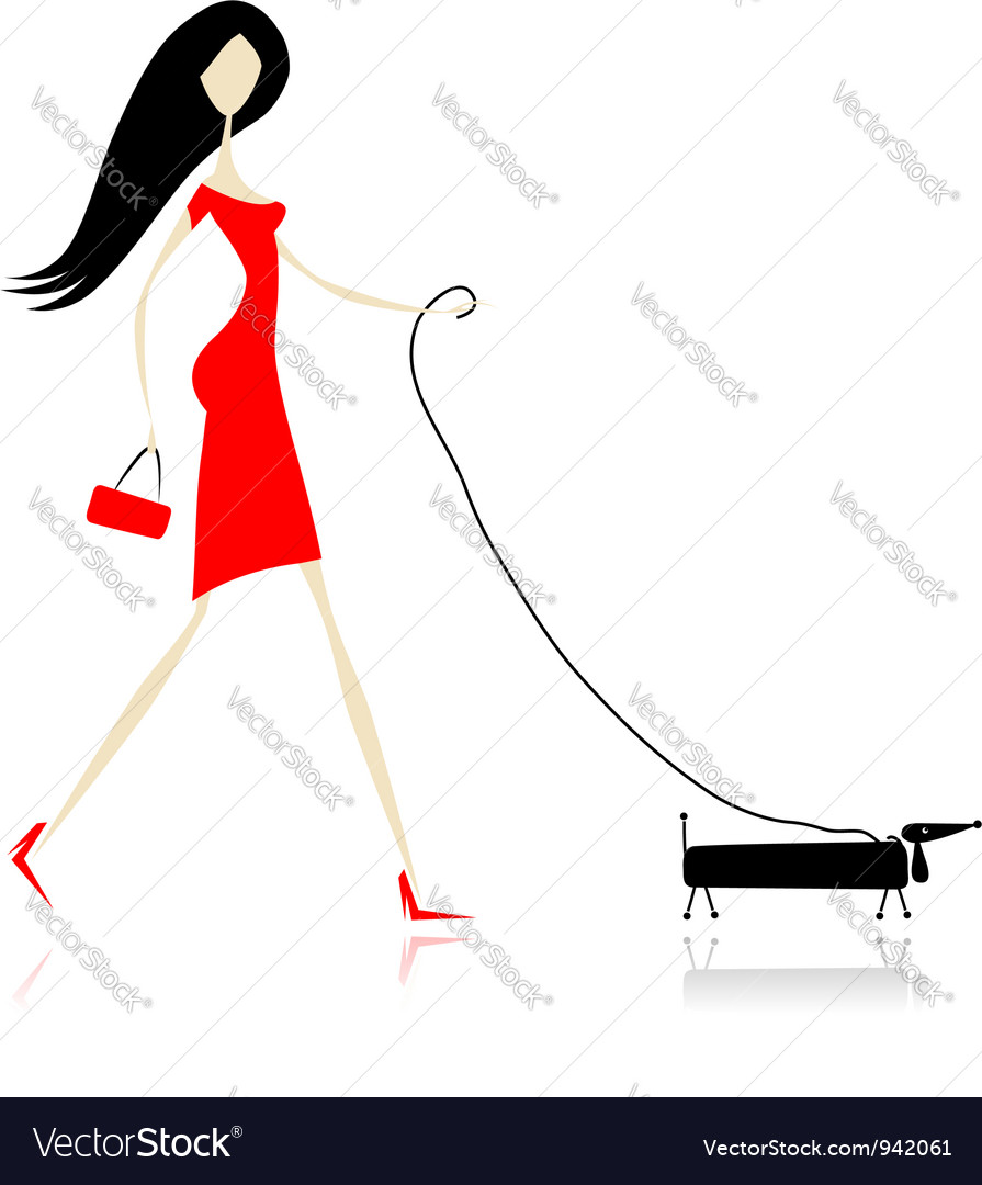 Woman in red dress walking with dog vector | Price: 1 Credit (USD $1)