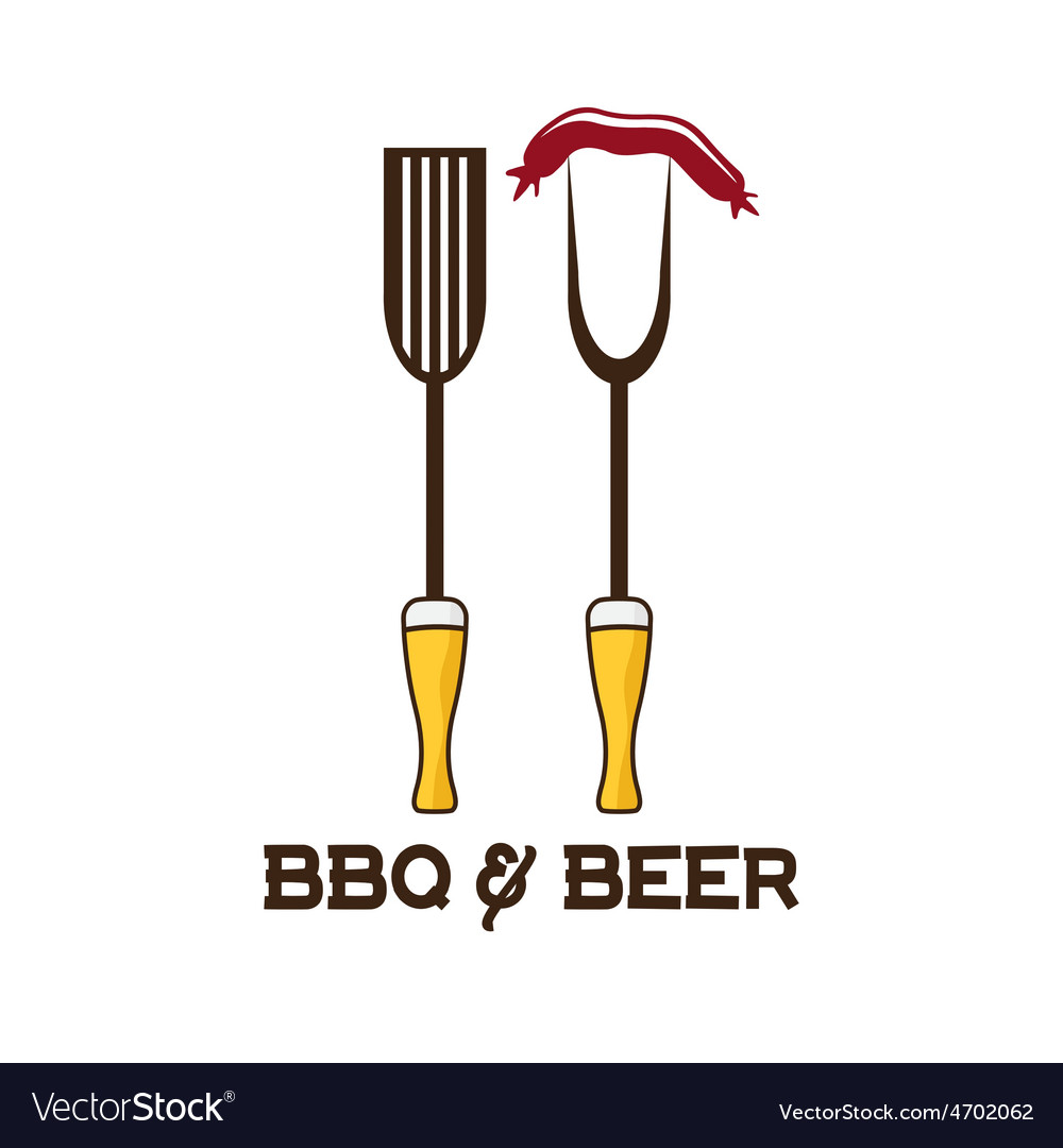Bbq tools and beer design template vector | Price: 1 Credit (USD $1)