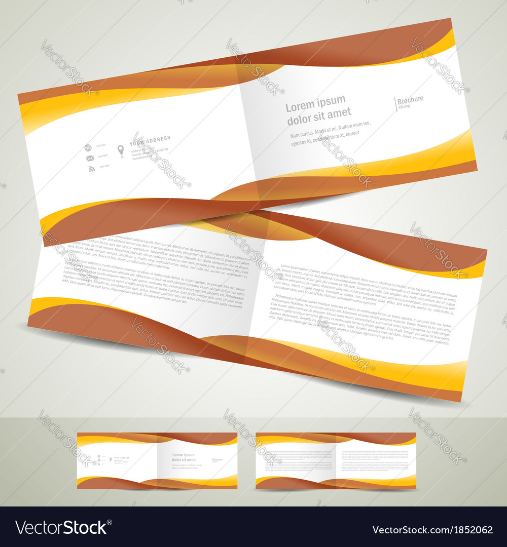 Brochure design template booklet brown yellow vector | Price: 1 Credit (USD $1)