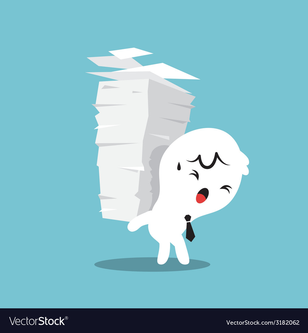 Business man carrying a stack of paper work load vector | Price: 1 Credit (USD $1)