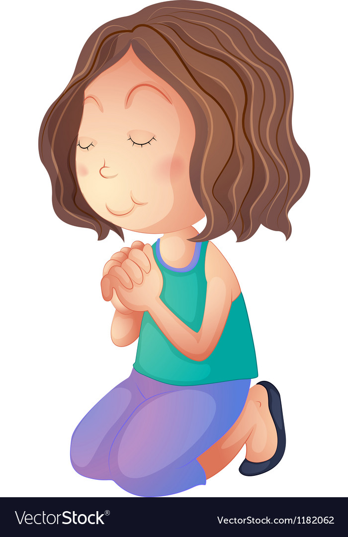 Cartoon woman praying vector | Price: 1 Credit (USD $1)