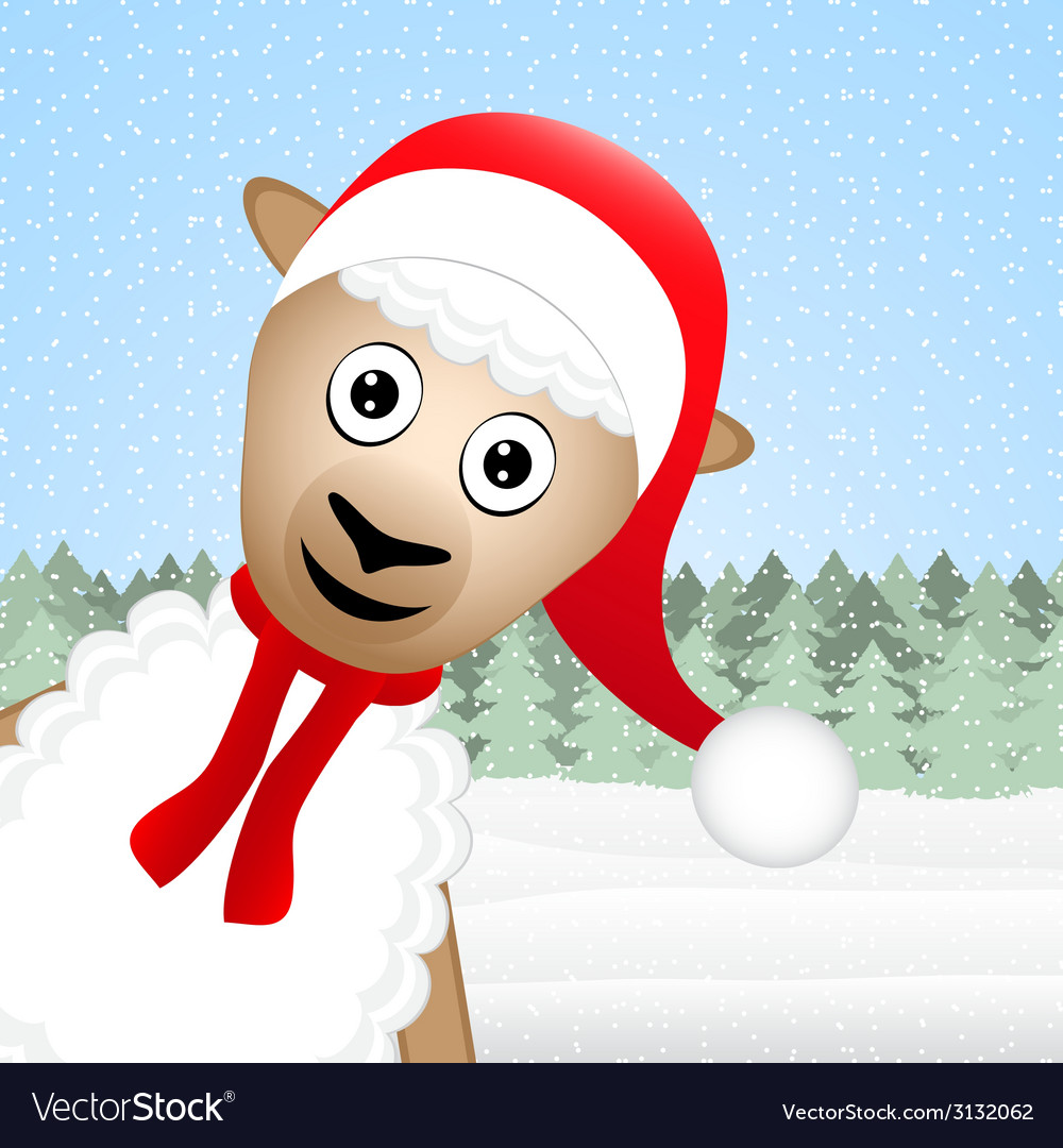 Christmas sheep peeking out of the woods vector | Price: 1 Credit (USD $1)
