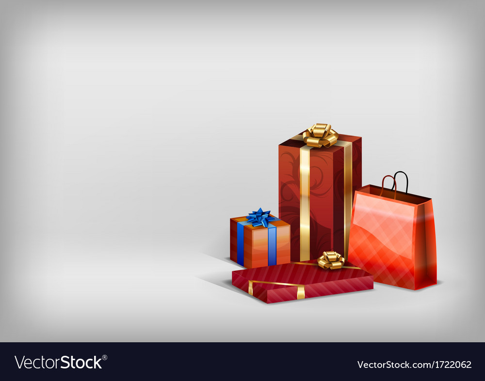 Christmass red gift grey vector | Price: 1 Credit (USD $1)