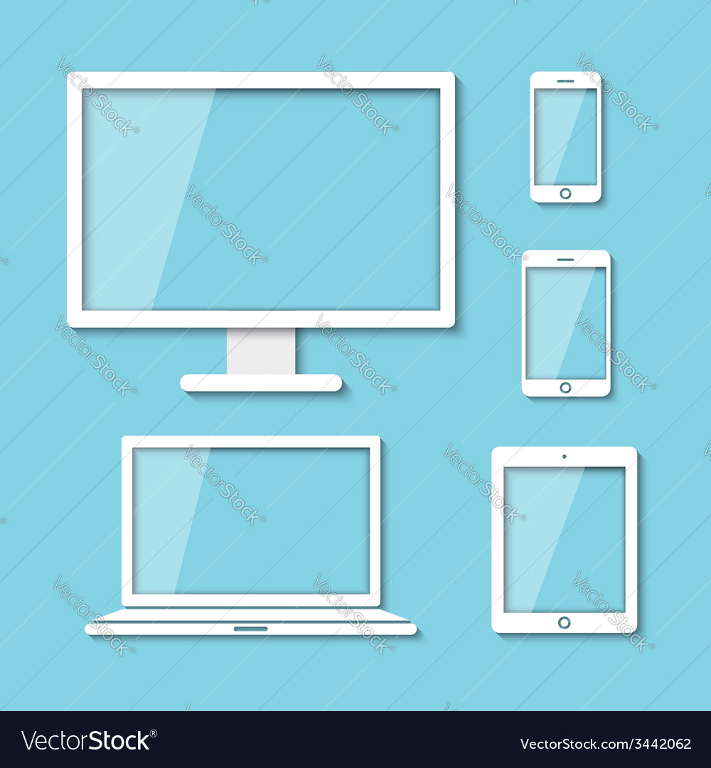Computer moniter laptop tablet and smart phone vector | Price: 1 Credit (USD $1)