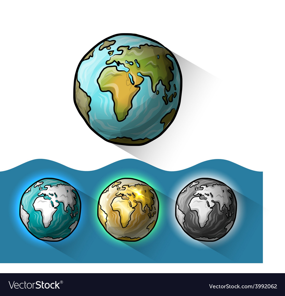 Doodle globe set vector | Price: 1 Credit (USD $1)