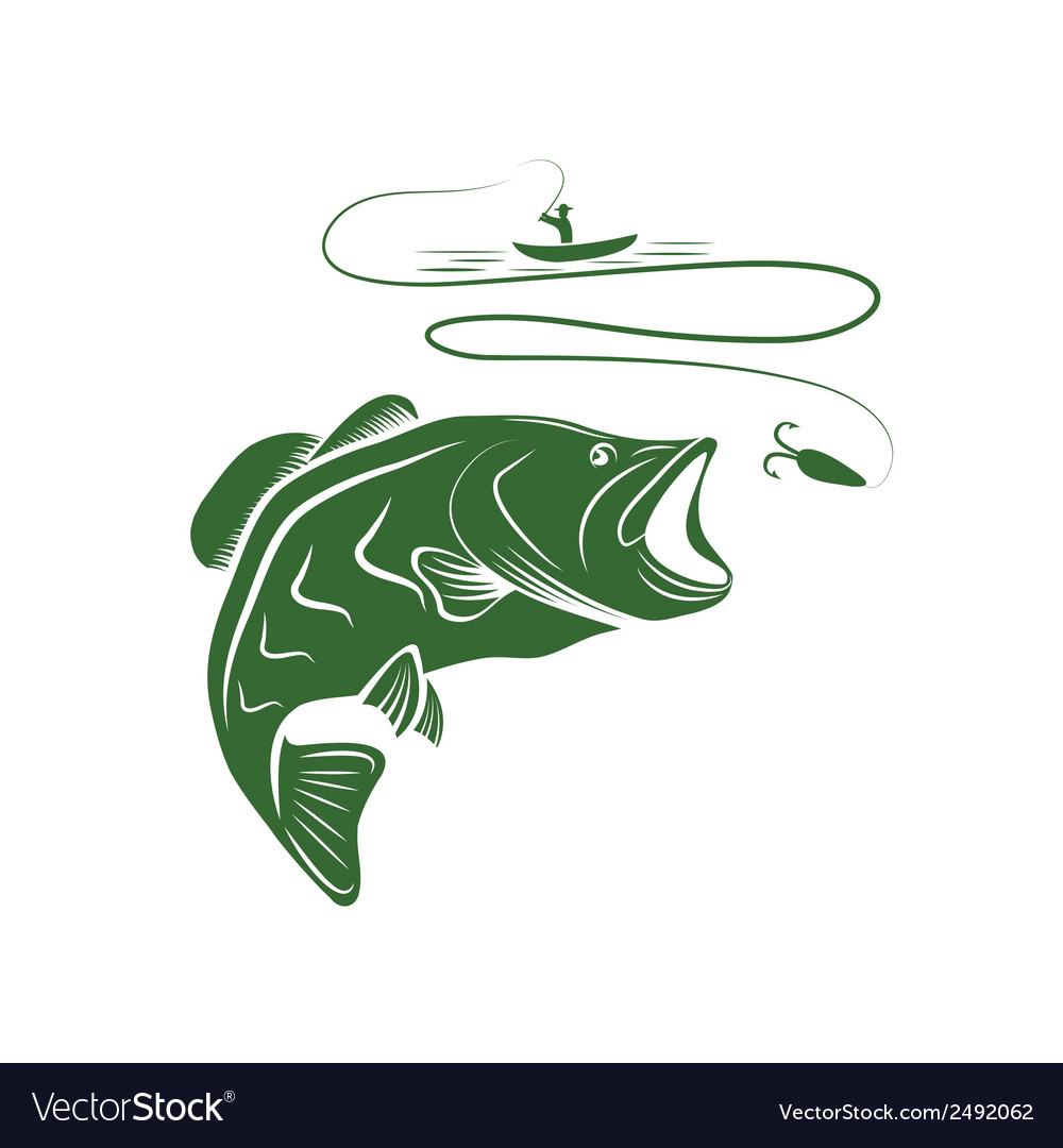Fisherman in a boat and big mouth bass vector | Price: 1 Credit (USD $1)