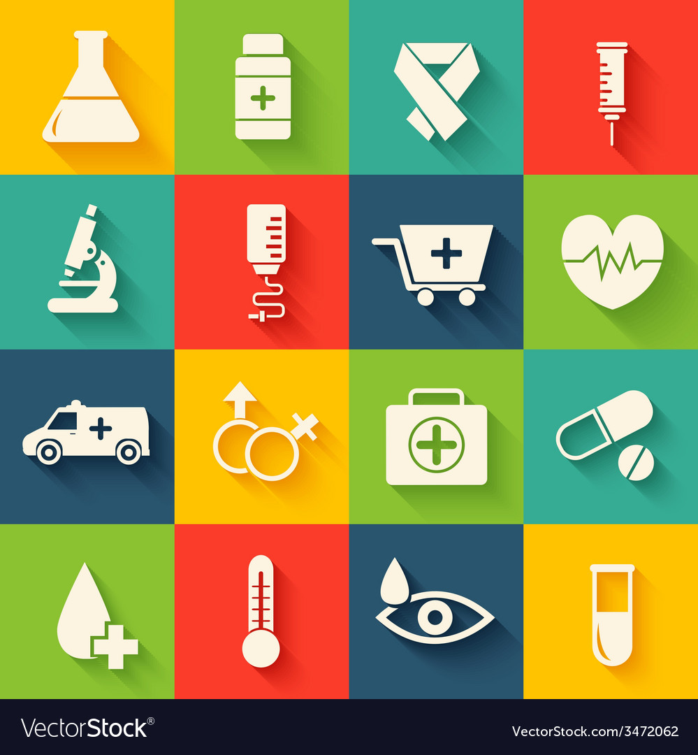 Medicine flat icons set concept vector | Price: 1 Credit (USD $1)