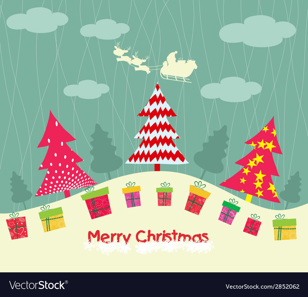 Merry christmas card with christmas trees and gift vector | Price: 1 Credit (USD $1)