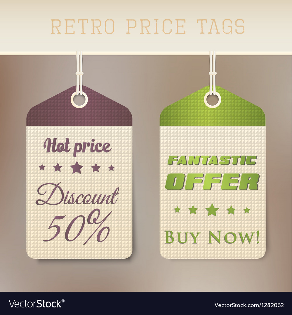 Retro pricing tabs vector | Price: 1 Credit (USD $1)